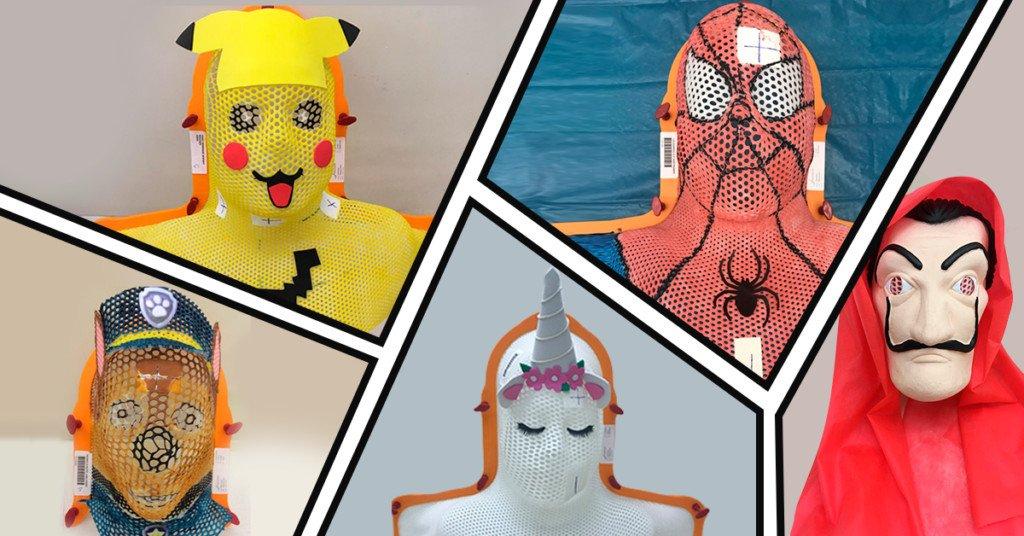 suportes e imobilizadores personalizados, como as máscaras termoplásticas de personagens